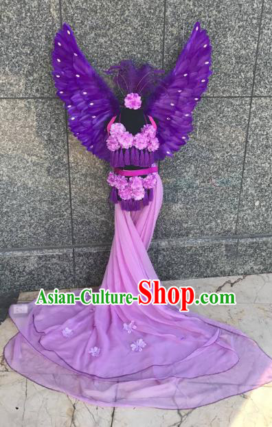 Top Grade Children Stage Performance Costume Modern Dance Purple Mullet Dress Catwalks Swimsuit Feather Wings for Kids