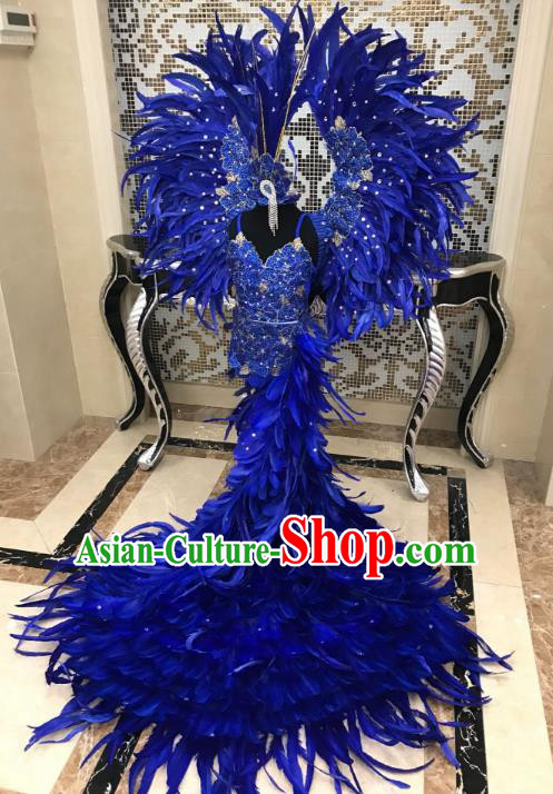 Top Grade Children Stage Performance Costume Modern Dance Catwalks Swimsuit and Blue Feather Wings for Kids