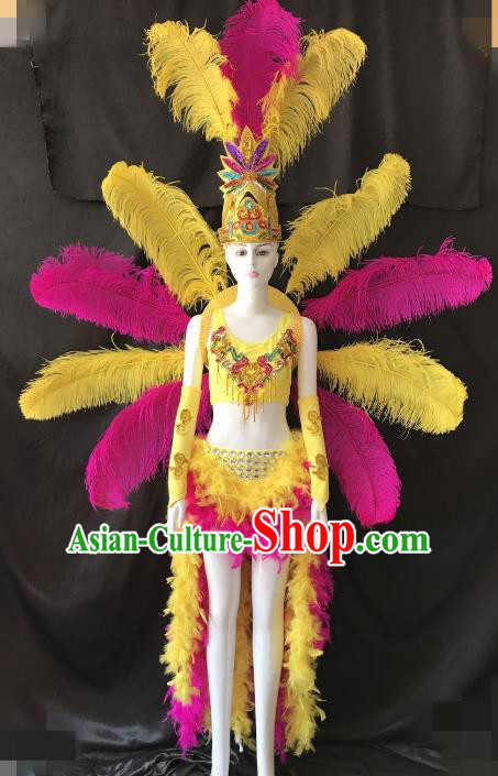 Top Grade Catwalks Costume Brazilian Carnival Samba Dance Bikini Feather Wings and Headdress for Women
