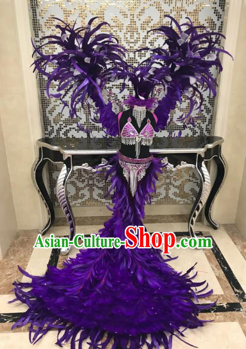Top Grade Children Stage Performance Costume Modern Dance Catwalks Swimsuit and Purple Feather Wings for Kids