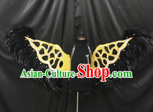 Top Grade Catwalks Props Brazilian Carnival Samba Dance Black Feather Wings for Women