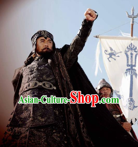 Ancient Chinese Yuan Dynasty Mongol Emperor Kublai Khan Replica Costumes Helmet and Armour for Men