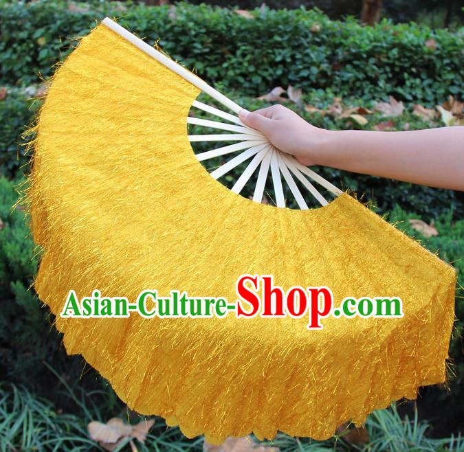 Chinese Handmade Folk Dance Yellow Folding Fans Yangko Dance Classical Dance Fans for Women