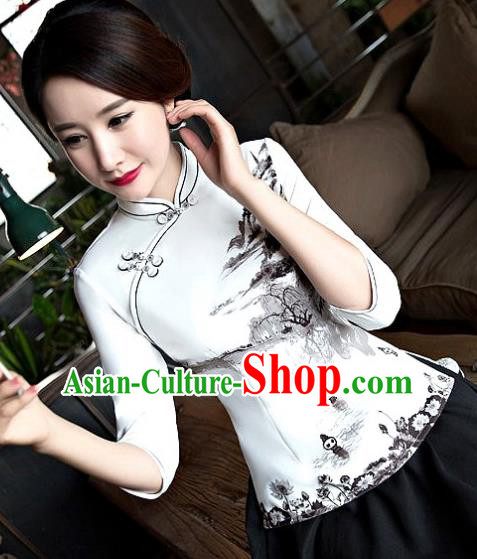 Chinese Traditional Elegant Cheongsam Blouse National Costume Tang Suit Qipao Shirts for Women