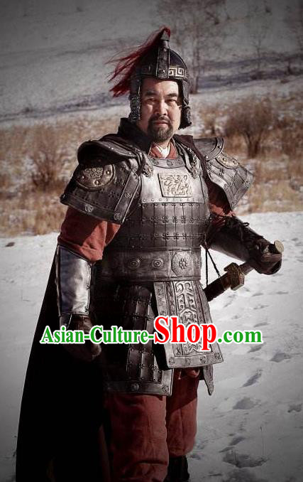 Chinese Ancient Han Dynasty General Knight-errant Xia Houying Replica Costume Helmet and Armour for Men
