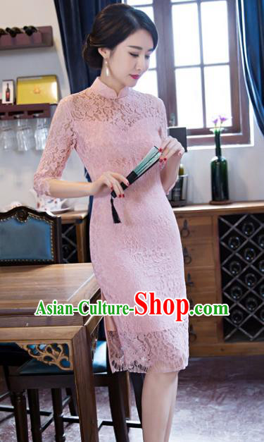 Chinese Traditional Elegant Pink Lace Cheongsam National Costume Qipao Dress for Women