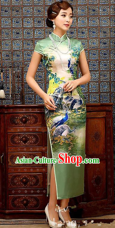 Chinese Traditional Elegant Retro Printing Peacock Cheongsam National Costume Green Qipao Dress for Women
