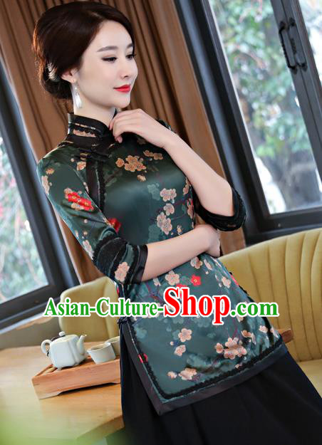 Chinese Traditional Elegant Cheongsam Green Silk Blouse National Costume Tang Suit Qipao Shirts for Women