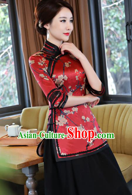Chinese Traditional Elegant Cheongsam Red Silk Blouse National Costume Tang Suit Qipao Shirts for Women