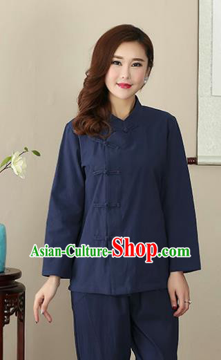 Chinese Traditional National Costume Navy Linen Blouse Tang Suit Qipao Short Shirts for Women
