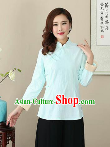 Chinese Traditional National Costume Light Blue Linen Blouse Tang Suit Qipao Short Shirts for Women