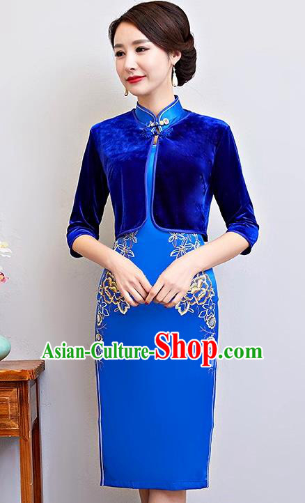 Chinese Traditional National Costume Blue Velvet Blouse Tang Suit Qipao Tippet for Women