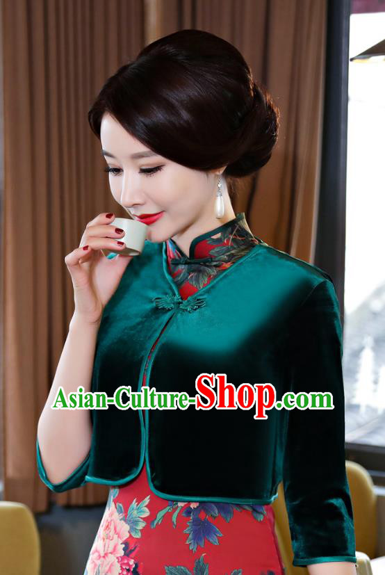 Chinese Traditional National Costume Green Velvet Blouse Tang Suit Qipao Tippet for Women