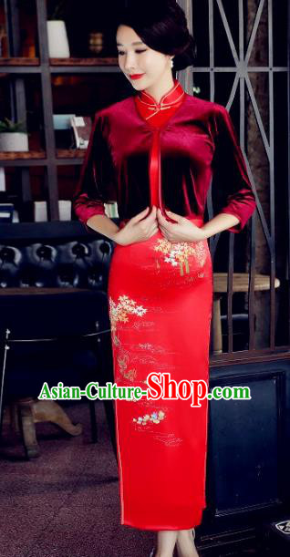 Chinese Traditional National Costume Red Velvet Blouse Tang Suit Qipao Tippet for Women