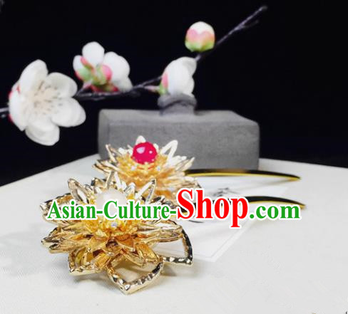 Chinese Handmade Classical Hair Accessories Golden Lotus Hairpins Hanfu Hair Stick for Women