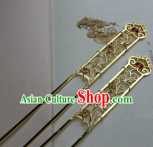 Chinese Handmade Classical Hair Accessories Hairpin Red Crystal Hair Stick Hanfu Hairpins for Women