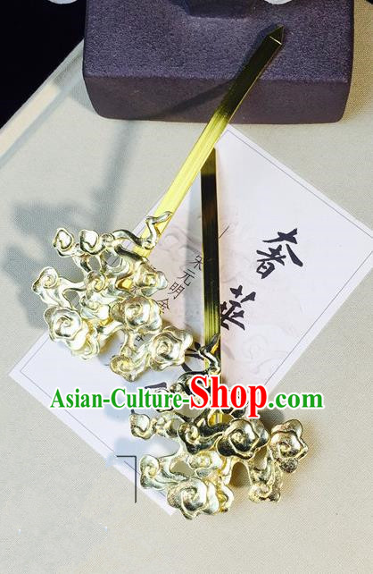 Chinese Handmade Classical Hair Accessories Hairpin Golden Flowers Hair Stick Hanfu Hairpins for Women