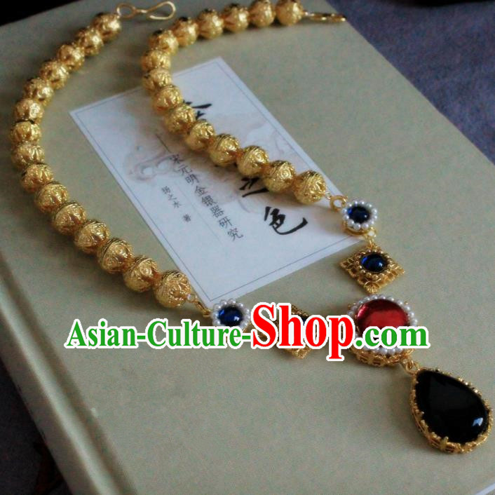 Chinese Handmade Classical Accessories Princess Golden Necklace Hanfu Necklet for Women