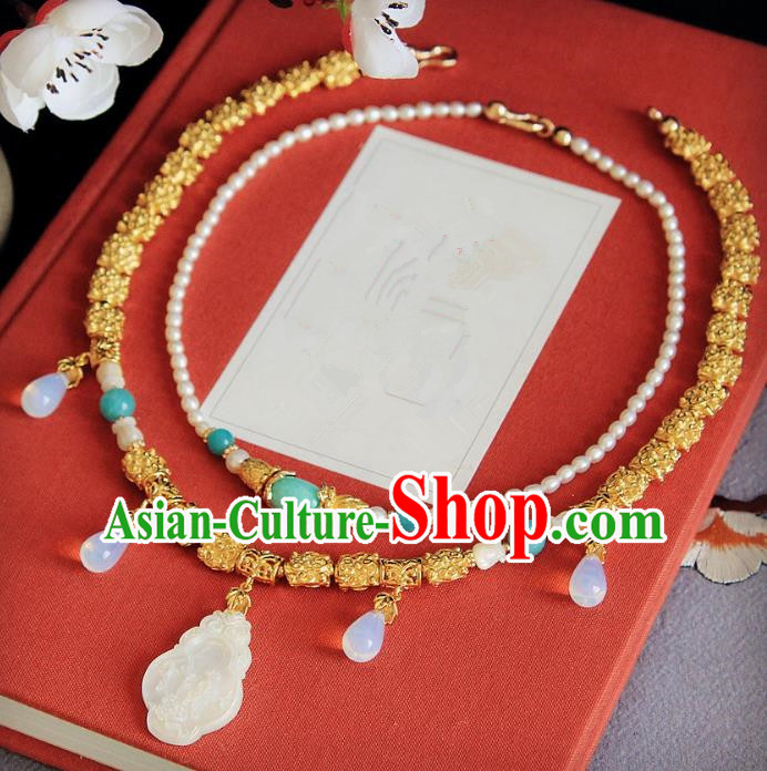 Chinese Handmade Classical Accessories Princess Shell Necklace Hanfu Necklet for Women