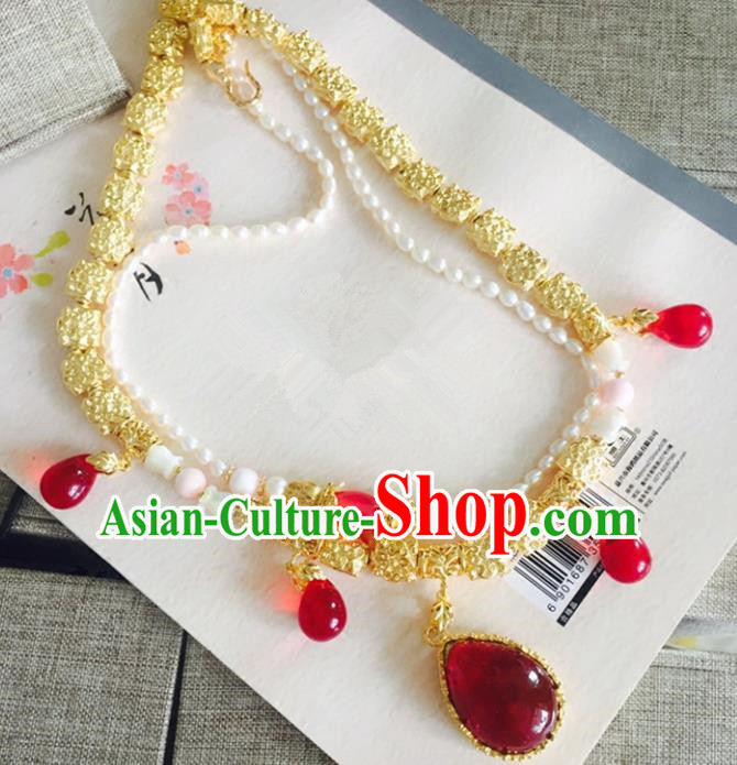 Chinese Handmade Classical Accessories Princess Red Crystal Necklace Hanfu Necklet for Women