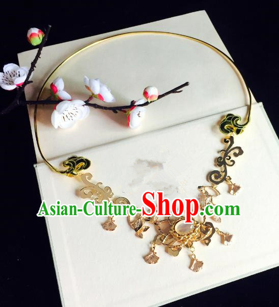 Chinese Handmade Classical Wedding Accessories Princess Golden Necklace Hanfu Necklet for Women