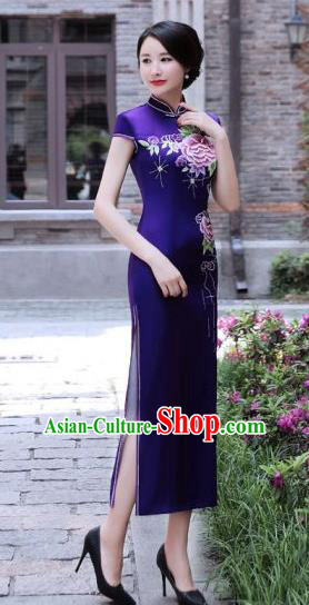 Chinese Traditional Mandarin Silk Qipao Dress National Costume Printing Peony Purple Long Cheongsam for Women