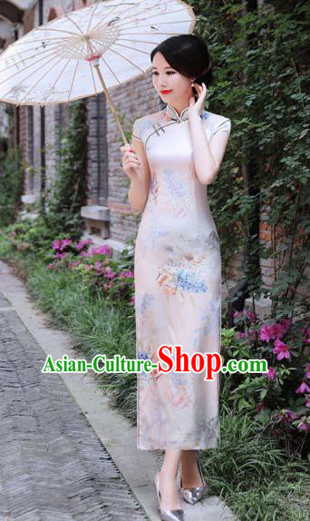 Chinese Traditional Mandarin Silk Qipao Dress National Costume Printing White Long Cheongsam for Women