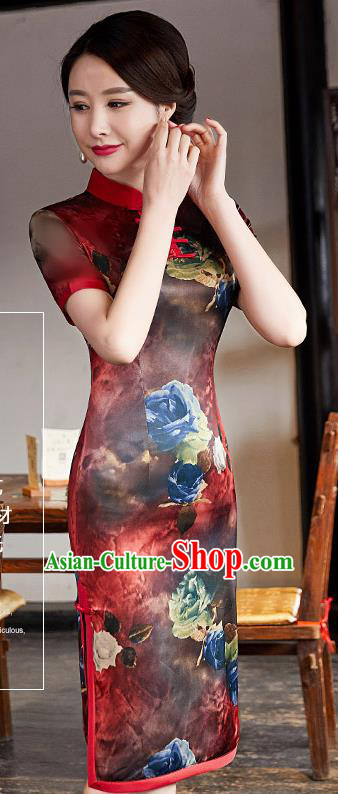 Chinese Traditional Silk Mandarin Qipao Dress National Costume Printing Red Short Cheongsam for Women