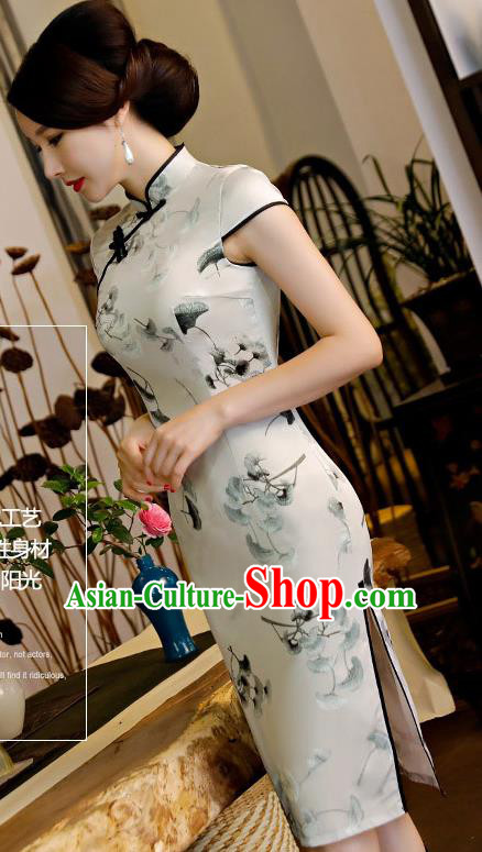Chinese Traditional Silk Mandarin Qipao Dress National Costume Printing Ginkgo Leaf Short Cheongsam for Women