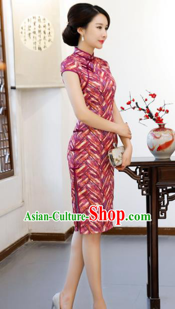 Chinese Traditional Mandarin Qipao Dress National Costume Printing Rosy Short Cheongsam for Women