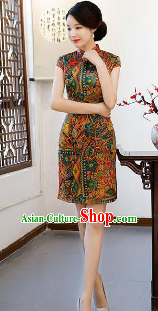 Chinese Traditional Short Mandarin Qipao Dress National Costume Printing Cheongsam for Women