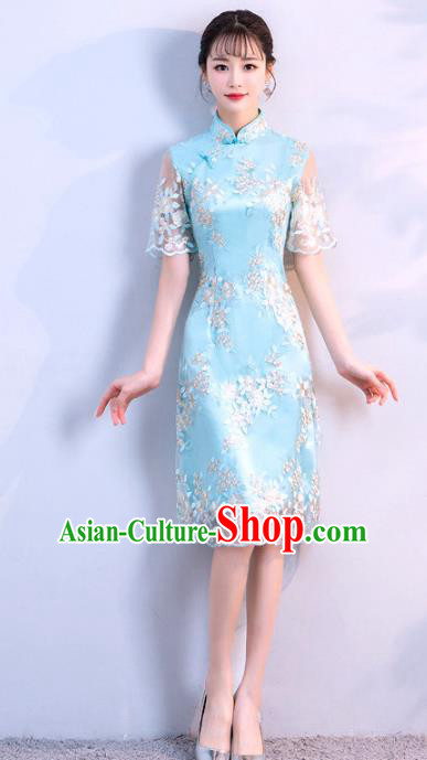 Chinese Traditional Blue Embroidered Mandarin Qipao Dress National Costume Short Cheongsam for Women