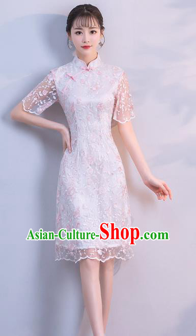 Chinese Traditional White Embroidered Mandarin Qipao Dress National Costume Short Cheongsam for Women