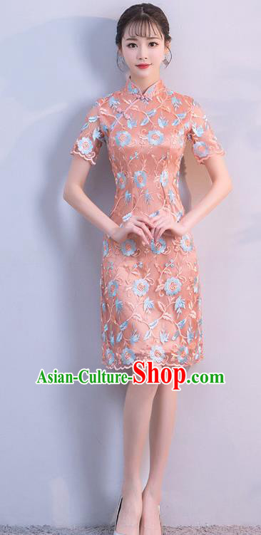Chinese Traditional Mandarin Qipao Dress National Costume Short Cheongsam for Women