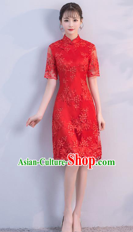 Chinese Traditional Red Mandarin Qipao Dress National Costume Short Cheongsam for Women