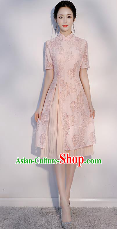 Chinese Traditional Embroidered Pink Mandarin Qipao Dress National Costume Short Cheongsam for Women