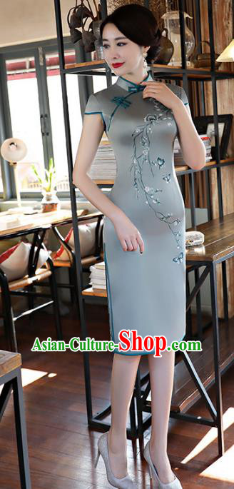 Chinese Traditional Green Silk Short Mandarin Qipao Dress National Costume Tang Suit Cheongsam for Women