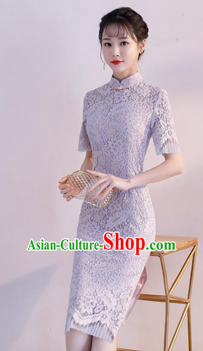 Chinese Traditional Purple Lace Mandarin Qipao Dress National Costume Wedding Short Cheongsam for Women