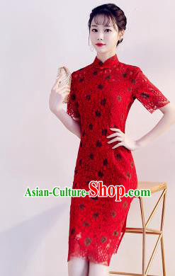 Chinese Traditional Red Lace Mandarin Qipao Dress National Costume Wedding Short Cheongsam for Women