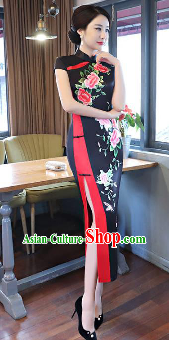 Chinese Traditional Mandarin Qipao Dress National Costume Tang Suit Printing Peony Black Cheongsam for Women