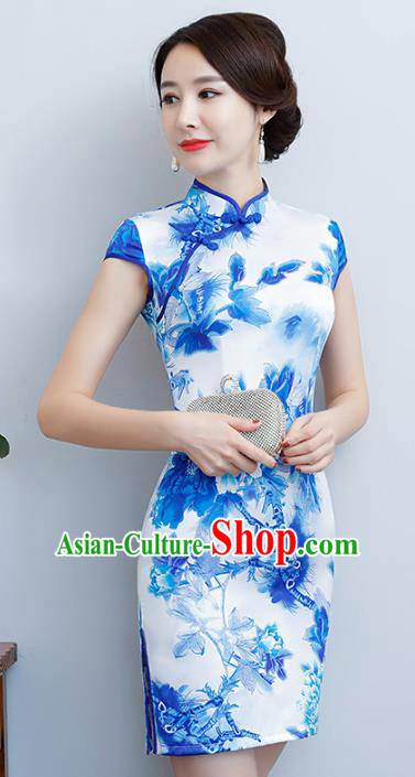 Chinese Traditional Tang Suit Printing Blue Qipao Dress National Costume Silk Mandarin Cheongsam for Women