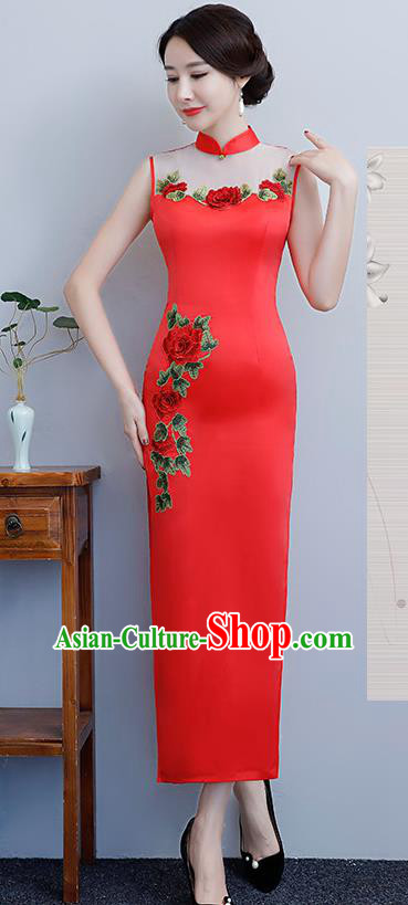 Chinese Traditional Tang Suit Embroidered Peony Qipao Dress National Costume Red Silk Mandarin Cheongsam for Women