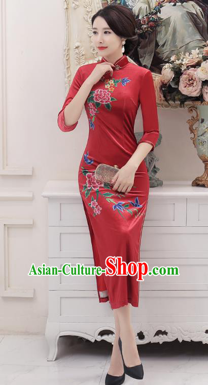 Chinese Traditional Tang Suit Red Silk Qipao Dress National Costume Retro Printing Mandarin Cheongsam for Women