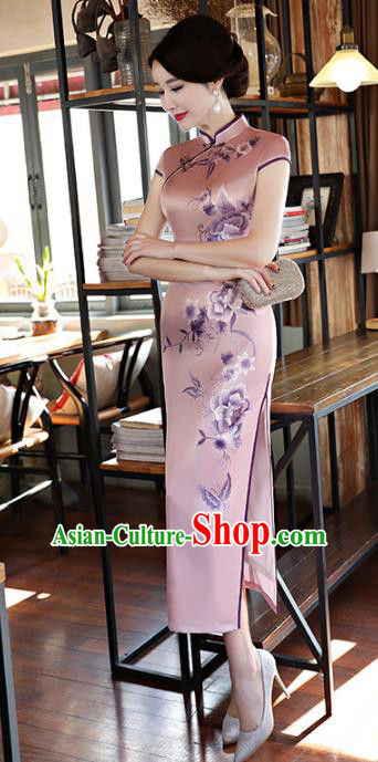 Chinese Traditional Mandarin Qipao Dress National Costume Tang Suit Printing Peony Pink Cheongsam for Women