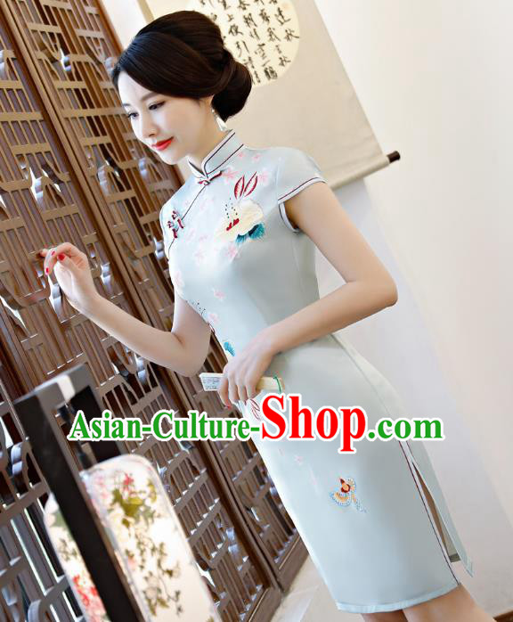 Chinese Traditional Printing Blue Qipao Dress National Costume Tang Suit Mandarin Cheongsam for Women