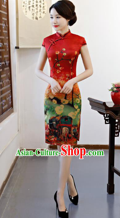 Chinese Traditional Printing Red Qipao Dress National Costume Tang Suit Mandarin Cheongsam for Women