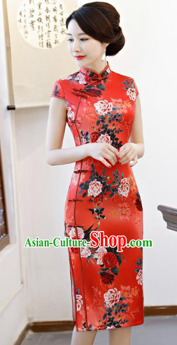 Chinese Traditional Printing Peony Red Qipao Dress National Costume Tang Suit Mandarin Cheongsam for Women