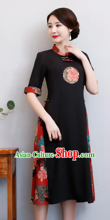 Chinese Traditional Black Qipao Dress National Costume Tang Suit Mandarin Cheongsam for Women