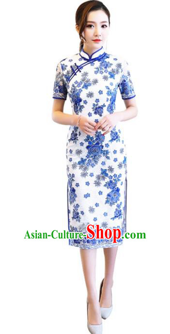 Chinese Traditional Tang Suit Qipao Dress National Costume Printing Blue Peony Mandarin Cheongsam for Women