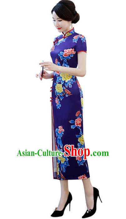 Chinese Traditional Tang Suit Blue Silk Qipao Dress National Costume Printing Peony Mandarin Cheongsam for Women